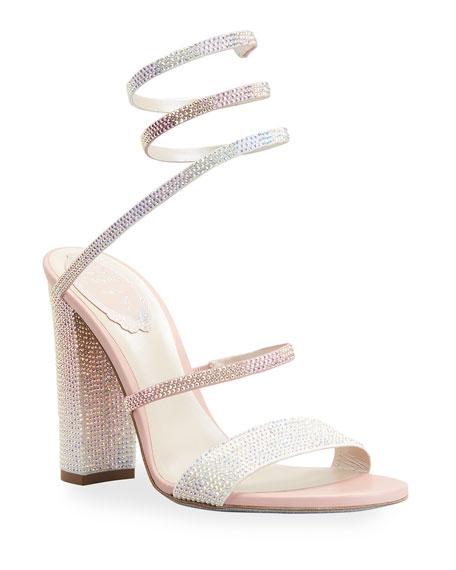 Rene Caovilla 105mm Snake-Ankle Crystal Stud Sandals