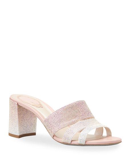 Rene Caovilla Crystal Stud Satin Heel Slide Sandals