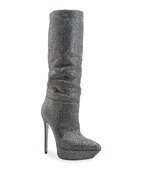 Rene Caovilla Strass Stiletto Platform Boots