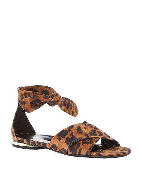 Marion Parke Joanna Leopard-Print Flat Sandals