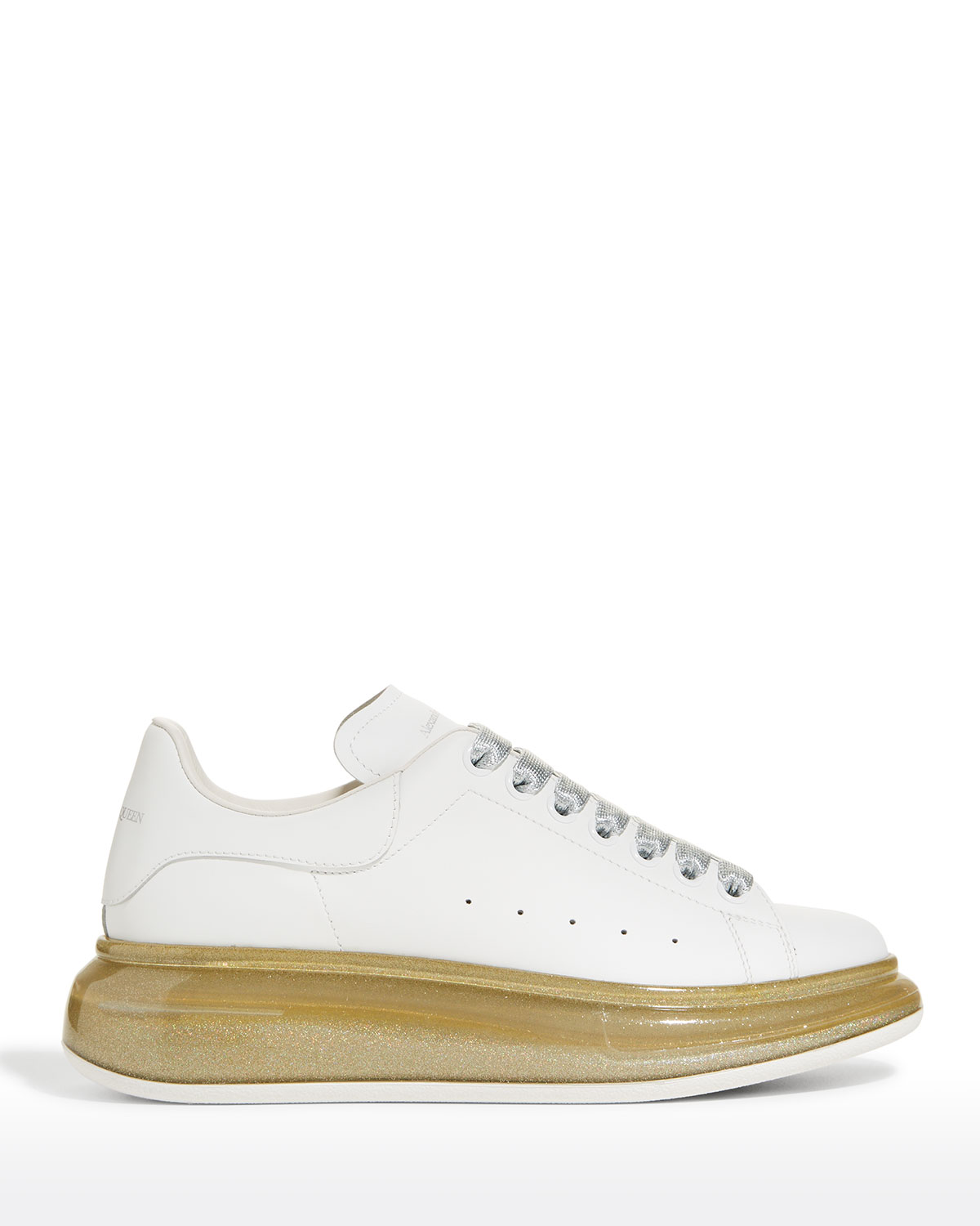 Alexander Mcqueen LEATHER CLEAR-SOLE CHUNKY SNEAKERS