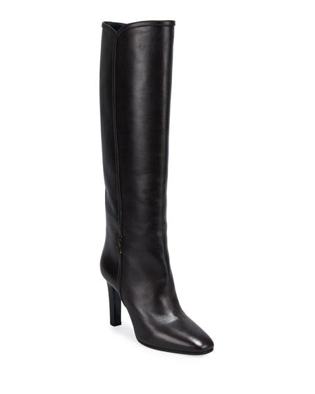 Saint Laurent Jane Leather Knee Boots