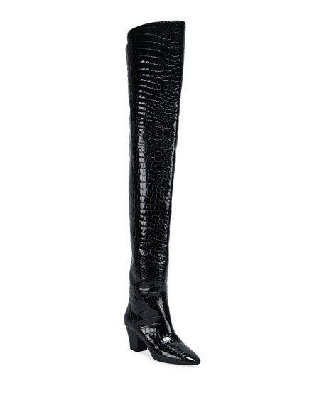Saint Laurent Kim Mock-Croc Thigh Boots