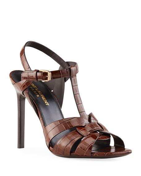 Saint Laurent Tribute 105mm Mock-Croc Stiletto Sandals