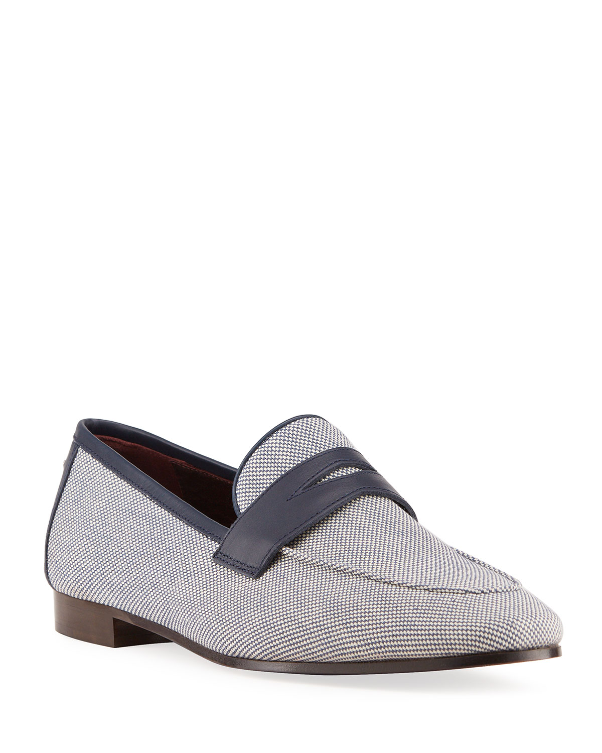 Bougeotte BICOLOR LINEN PENNY LOAFERS