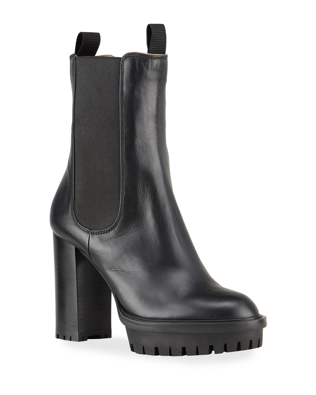 Gored Leather Lug-Sole Platform Boots