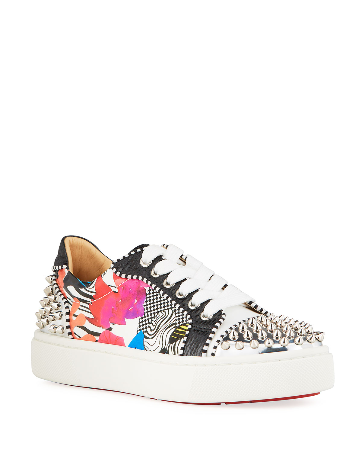 Christian Louboutin VIERISSIMA MULTI PATTERN SPIKE RED SOLE SNEAKERS