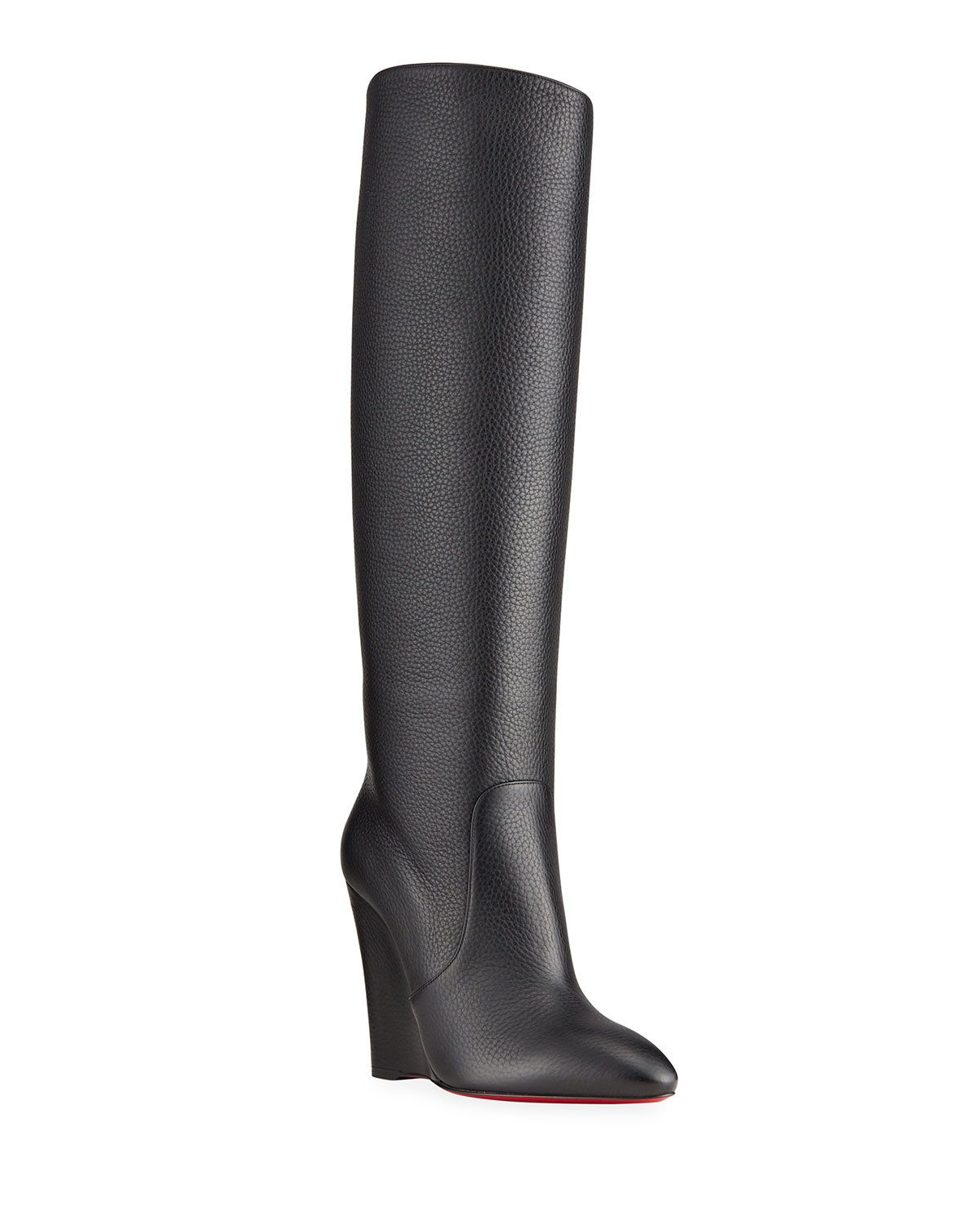 Christian Louboutin CIVILIZA TALL RED SOLE WEDGE BOOTS