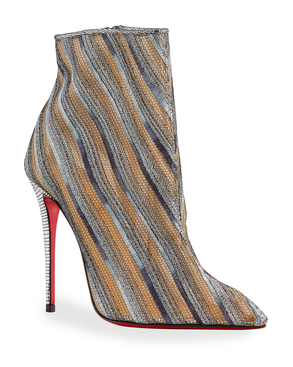 Christian Louboutin GIPSY MULTICOLORED ZIP RED SOLE BOOTIES