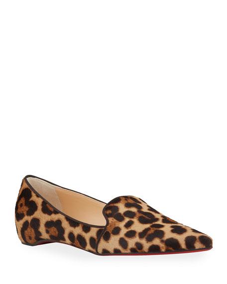 Christian Louboutin Kashasha Leopard-Print Flat Loafers