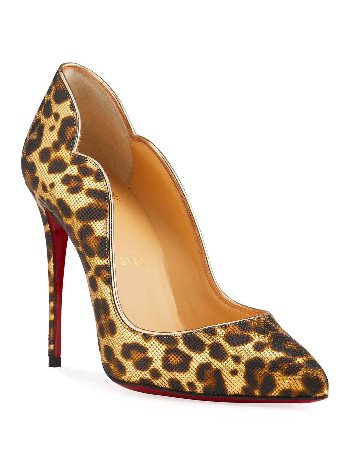 Christian Louboutin HOT CHICK 100MM LEOPARD-PRINT RED SOLE PUMPS