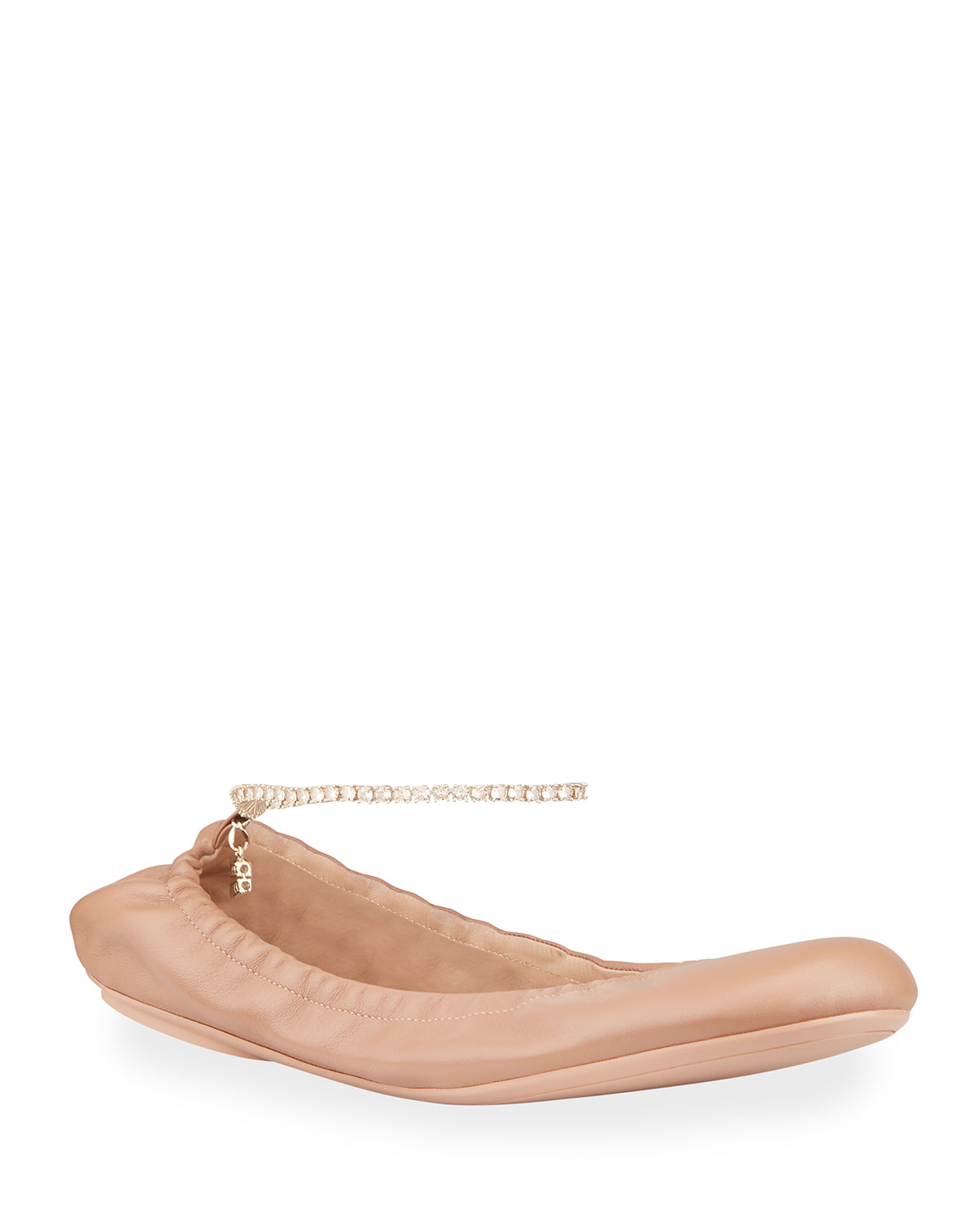 Leather Ankle-Chain Ballerina Flats