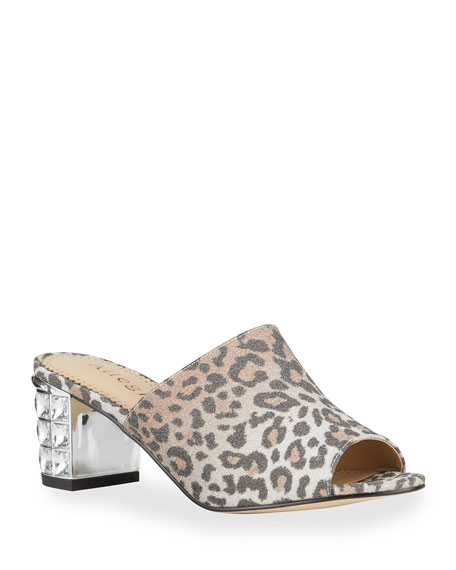 Allegra James Cindy Leopard-Print Embellished-Heel Mules