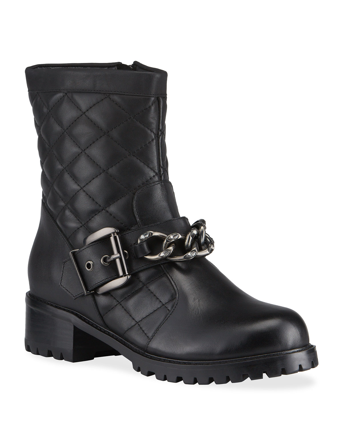 Cate Quilted Leather Chain Biker Boots