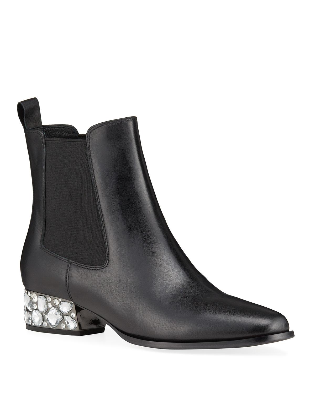 Kara Crystal-Heel Ankle Booties