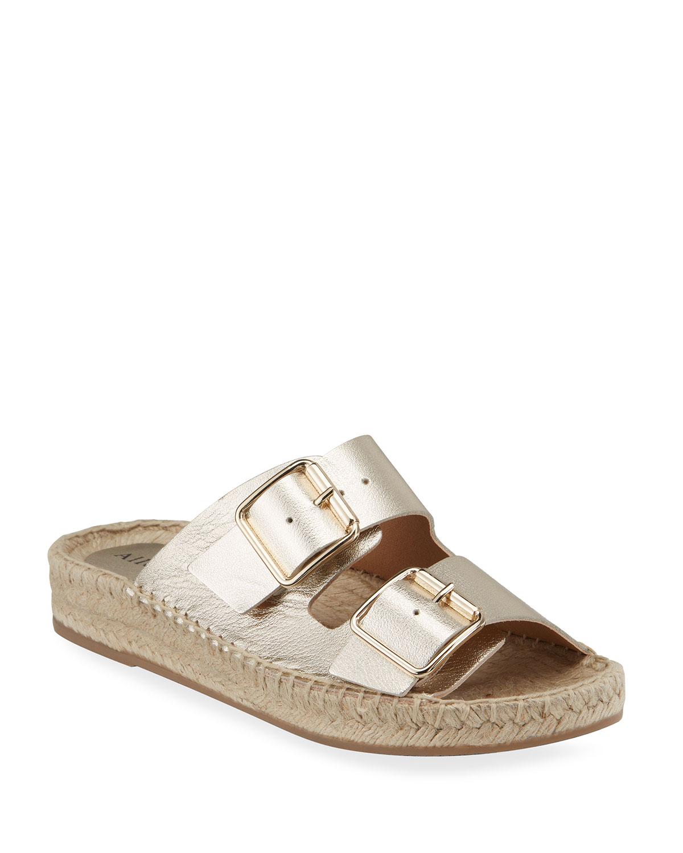Sage Metallic Dual Buckle Slide Sandals