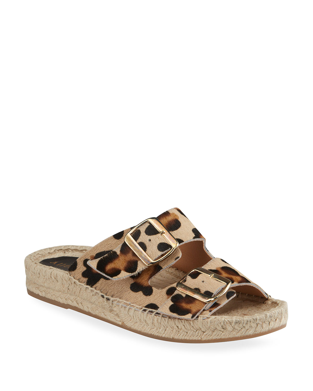 Sage Leopard-Print Fur Dual Buckle Slide Sandals