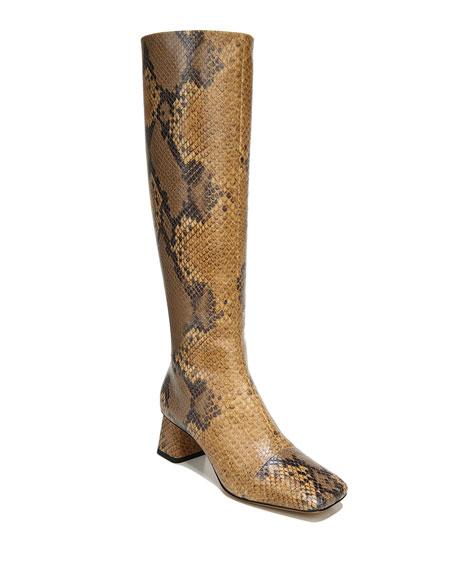 Vince Kellen Python-Print Zip Knee Boots