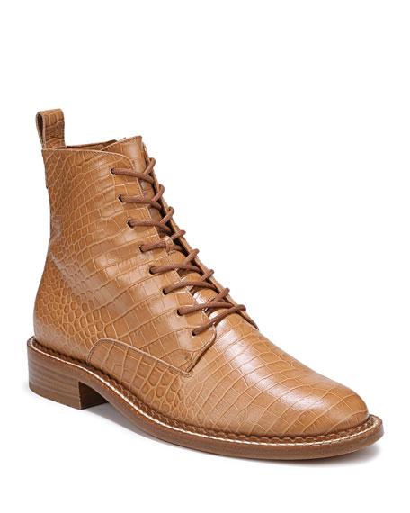 Vince Cabria Mock-Croc Combat Boots