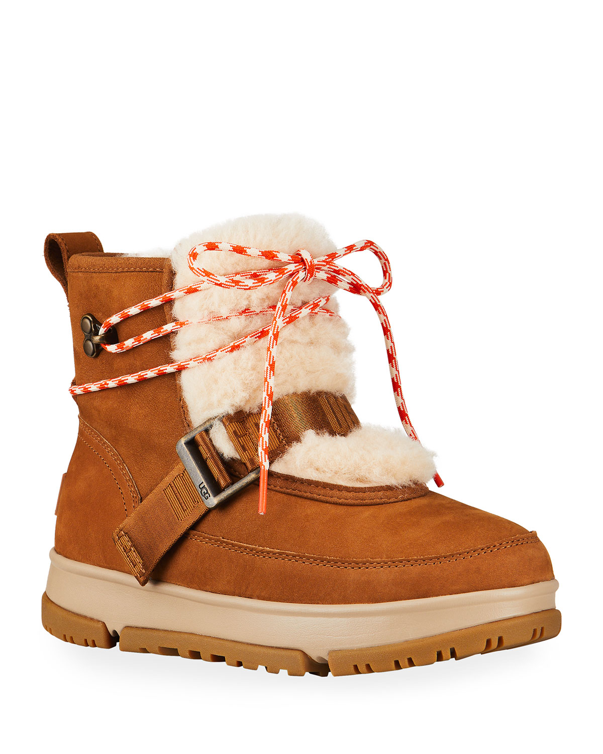 Classic Weather Waterproof Leather Hiker Boots w/ Faux-Fur Trim