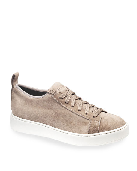 Santoni Clean Icon Stretch Suede Low-Top Sneakers