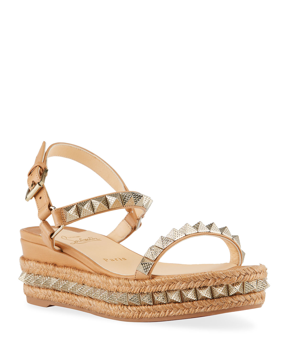 Christian Louboutin PYRACLOU SPIKE WEDGE ESPADRILLE SANDALS