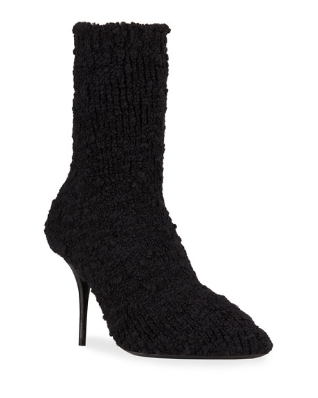 Dolce & Gabbana Stretch-Knitted Pointed Stiletto Booties