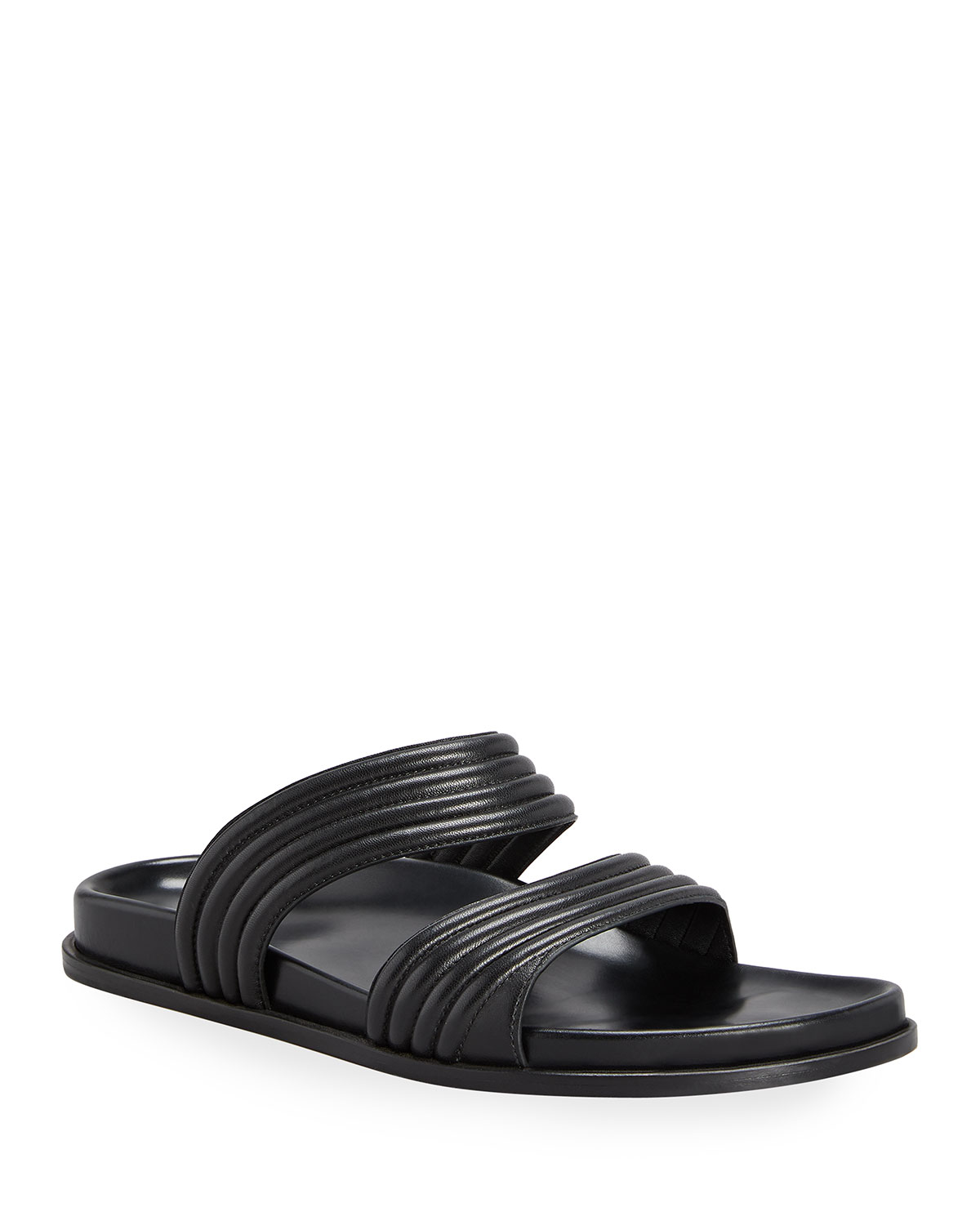 Wavy Leather Two Band Slide Sandals