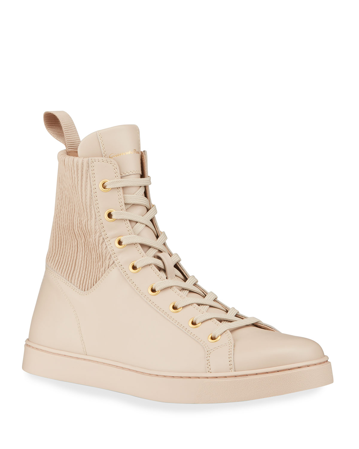 Gianvito Rossi Leathers CALFSKIN HIGH-TOP SNEAKERS