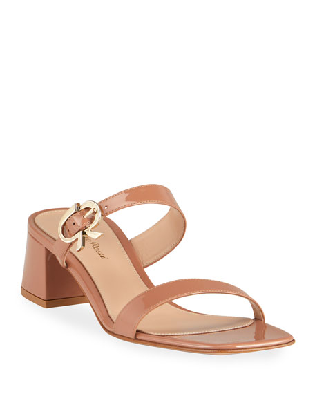 Gianvito Rossi Patent Two-Band Slide Sandals