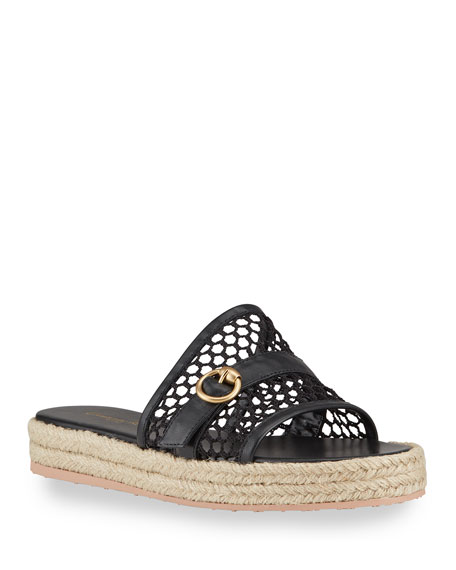 Gianvito Rossi Napa Netted Flat Espadrille Sandals