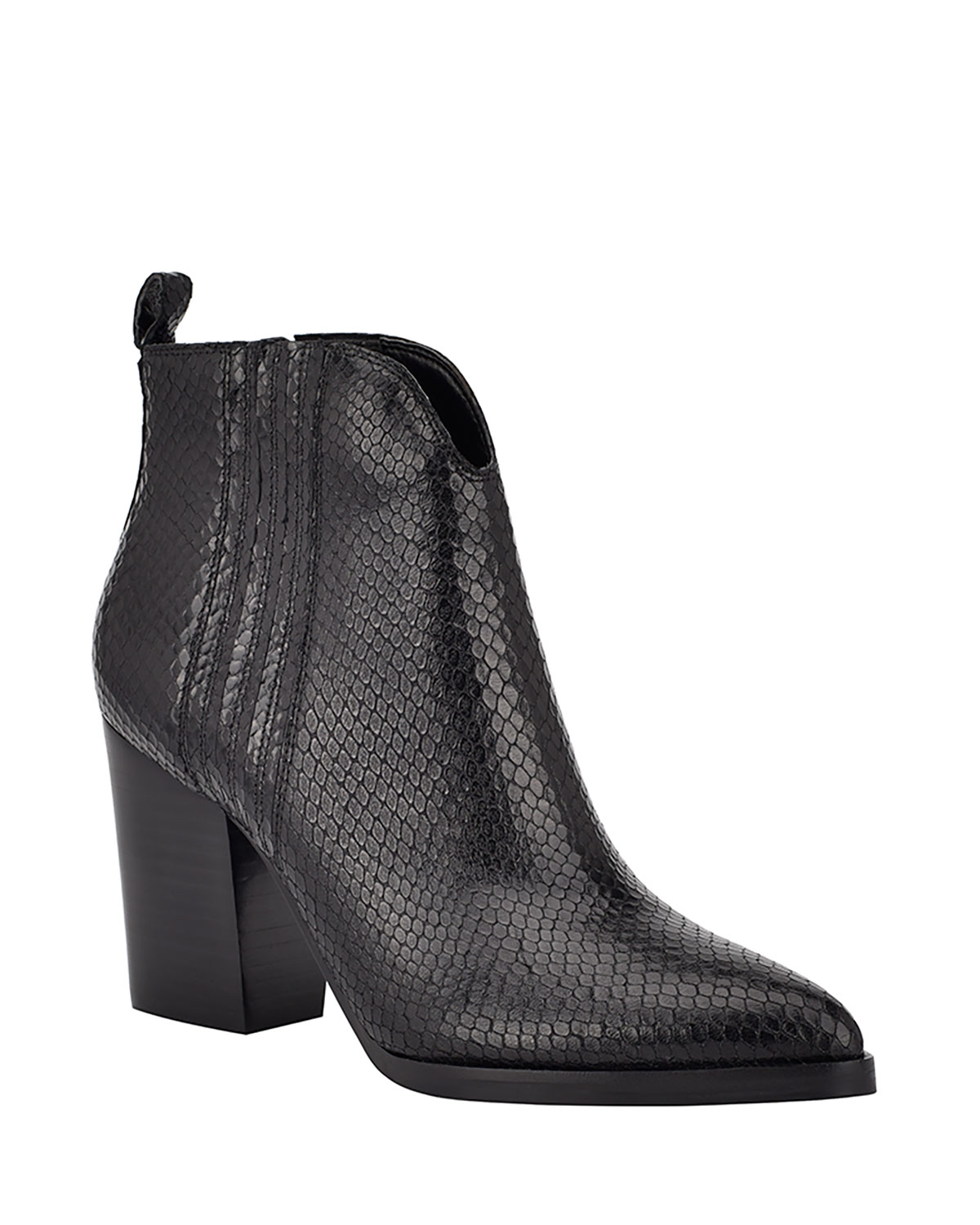 Annabel Snake-Print Ankle Booties