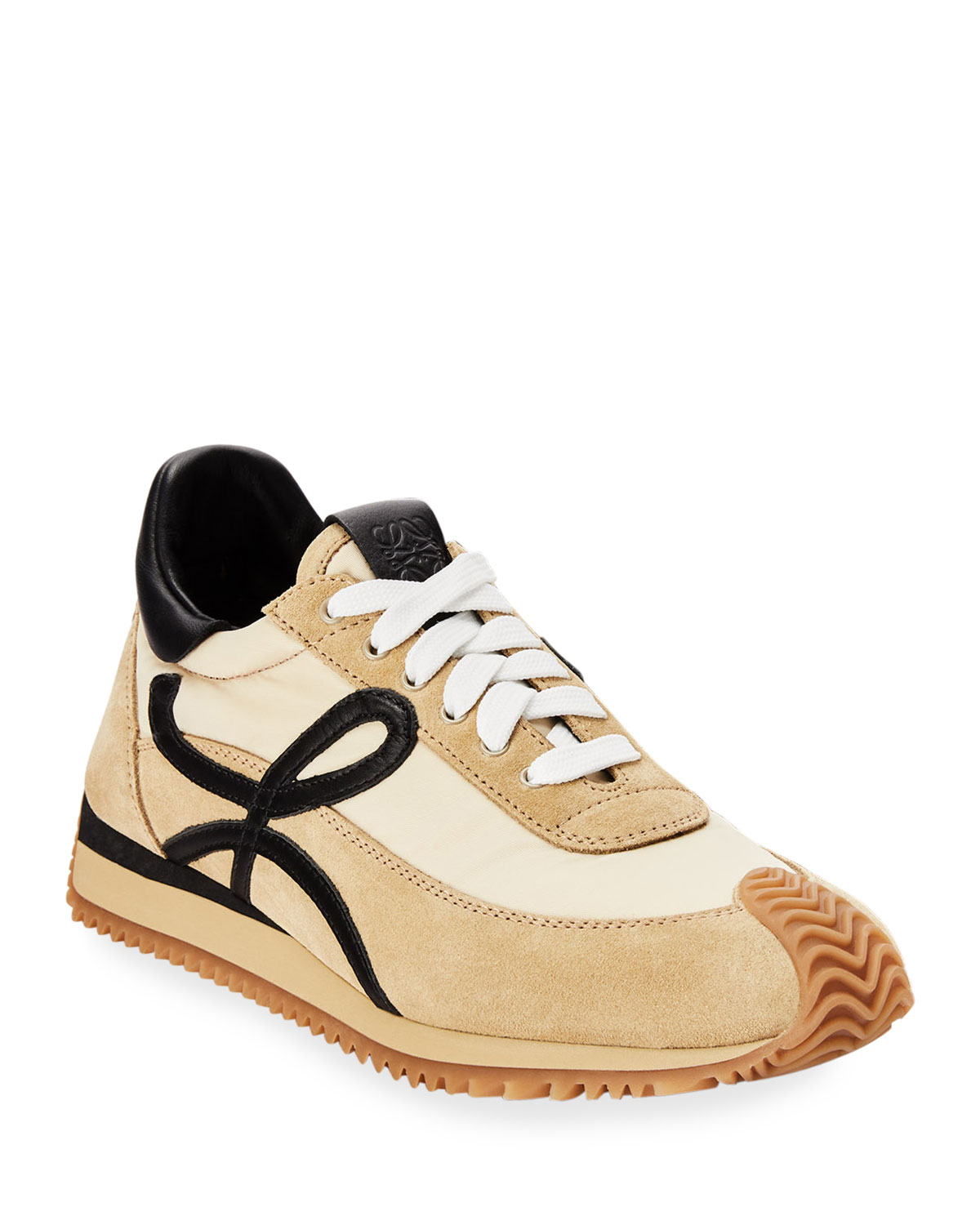 Flow Mixed Leather Runner Sneakers