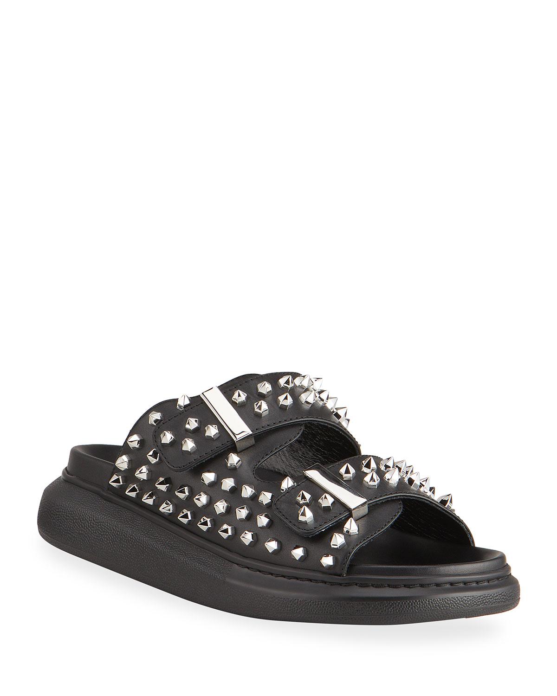 Oversized Stud Buckle Slide Sandals