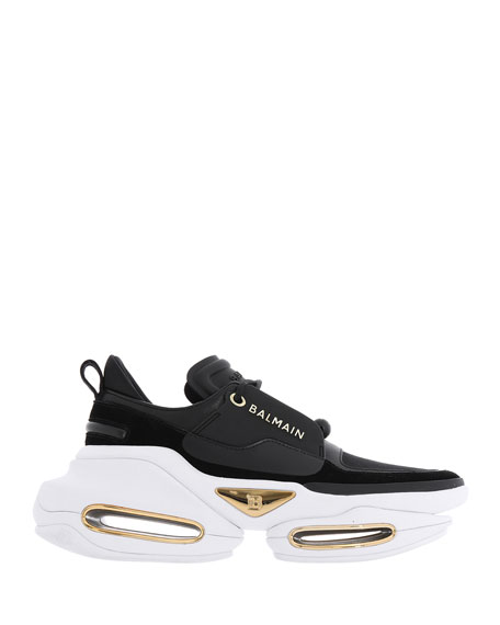 Balmain BBold Mixed Leather Fashion Sneakers