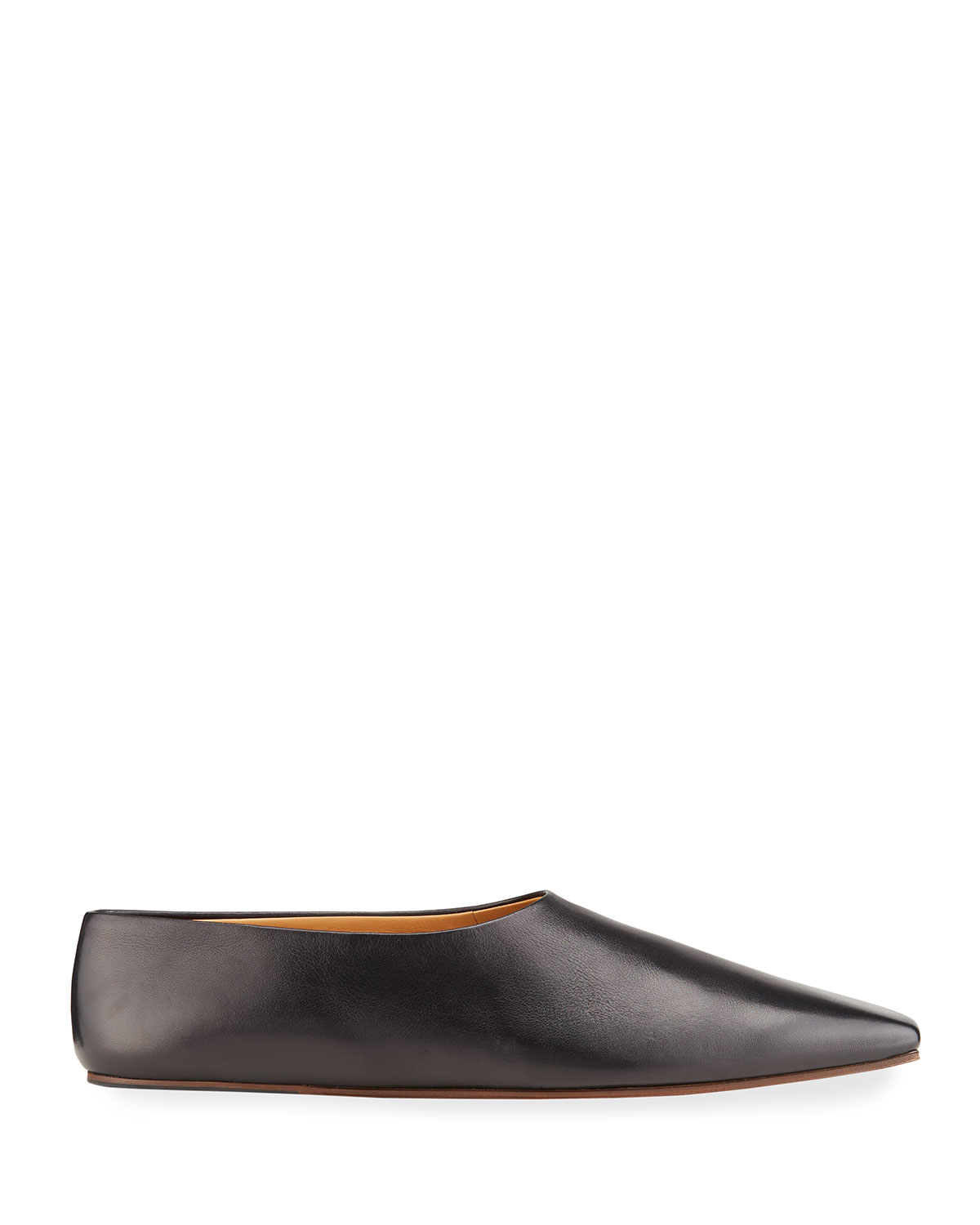 The Row SQUARE-TOE LEATHER BALLERINA FLATS