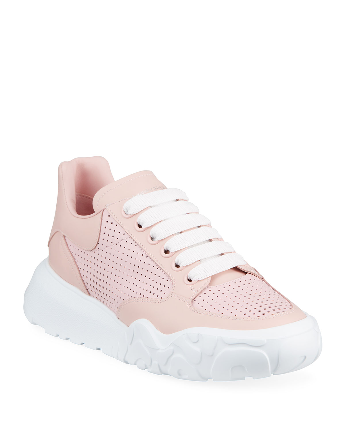 Alexander Mcqueen Leathers PERFORATED CALFSKIN TRAINER SNEAKERS