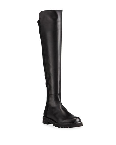 Stuart Weitzman Leather Stretch Knee Boots