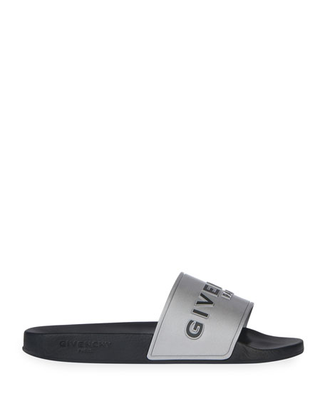 Givenchy Metallic Logo Slide Sandals