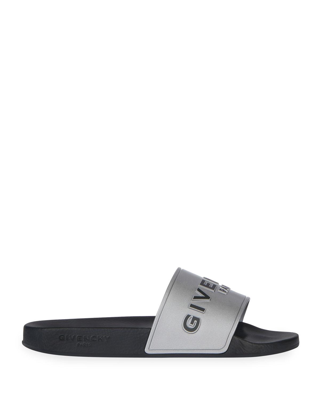 Metallic Logo Slide Sandals