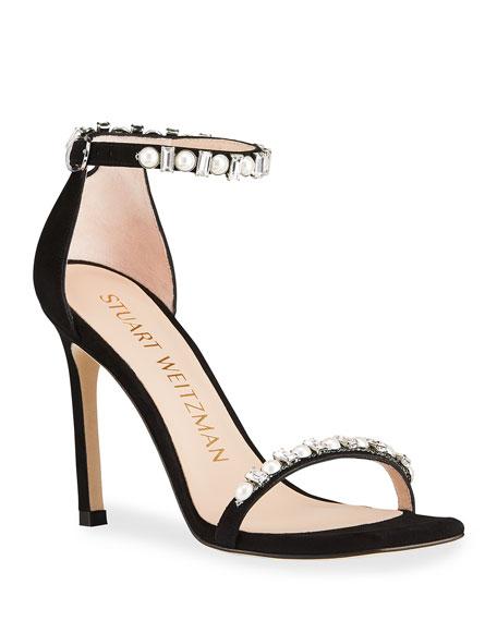 Stuart Weitzman Amelina Shine Pearly Crystal Stiletto Sandals
