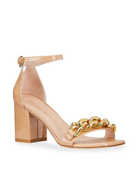Stuart Weitzman Amelina Golden Chain Patent Block-Heel Sandals