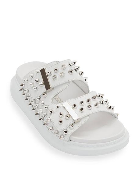 Alexander McQueen Hybrid Spike Double-Buckle Slide Sandals
