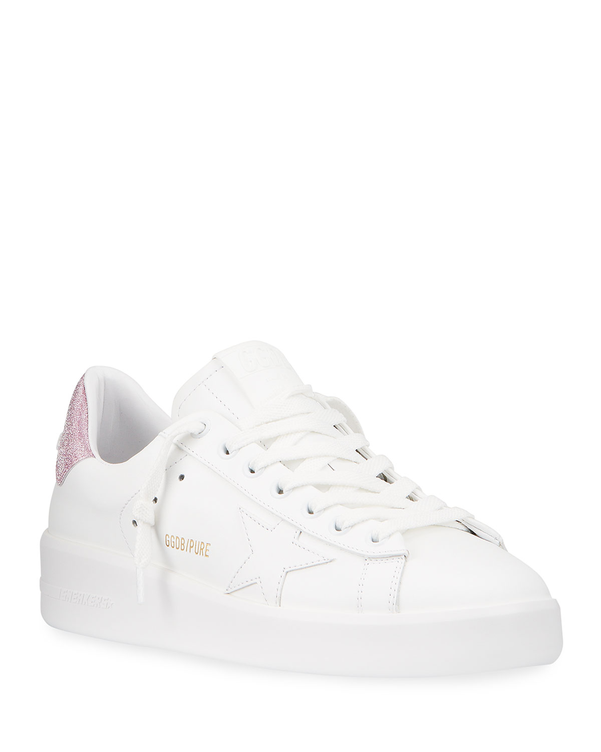 Pure Star Leather Glitter Low-Top Sneakers