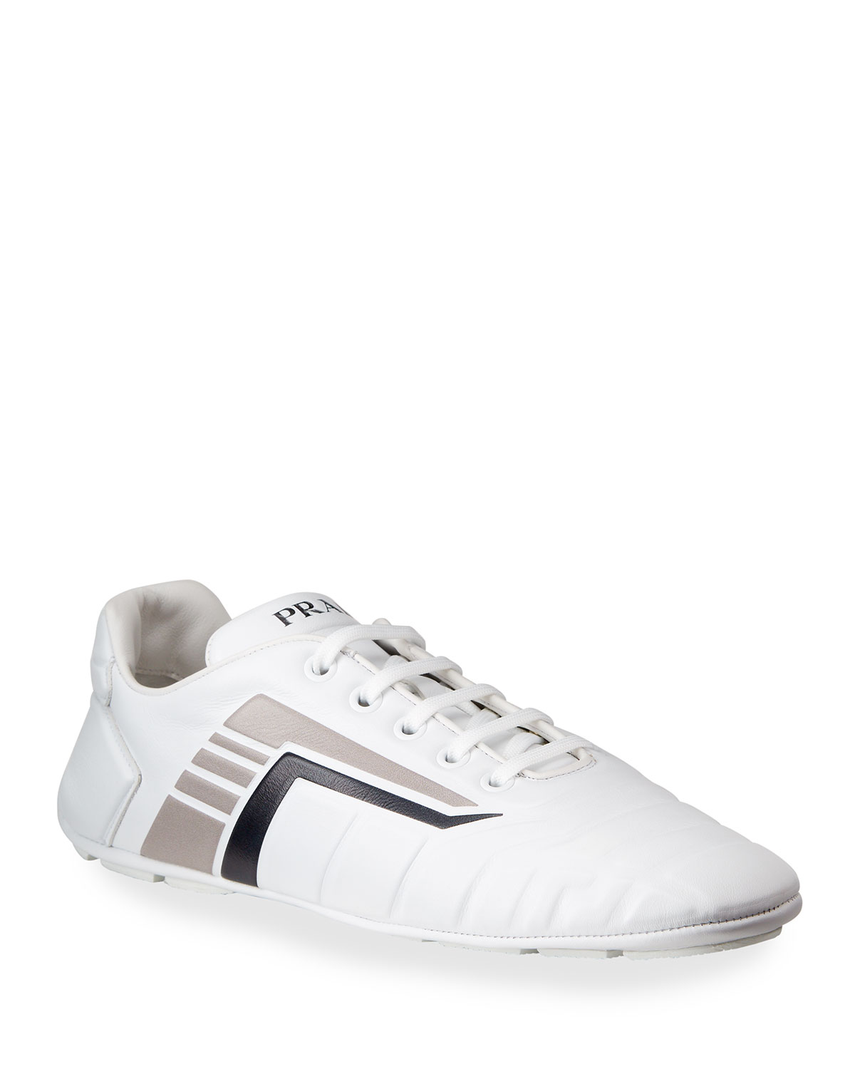 Prada QUILTED LEATHER FLAT SNEAKERS