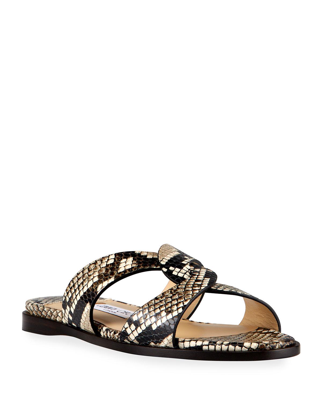 Atia Snake-Print Flat Slide Sandals
