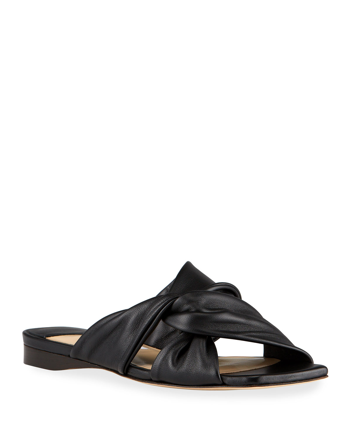 Narisa Knotted Leather Flat Sandals