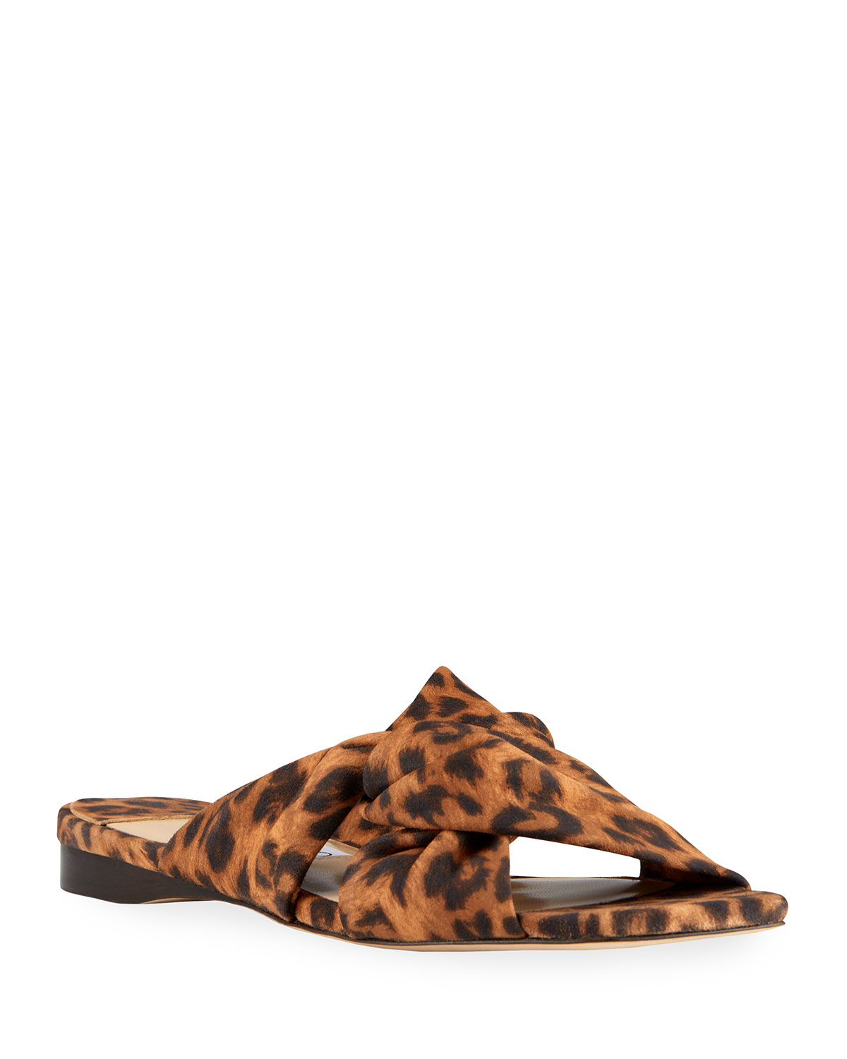 Narisa Knotted Leopard-Print Flat Sandals