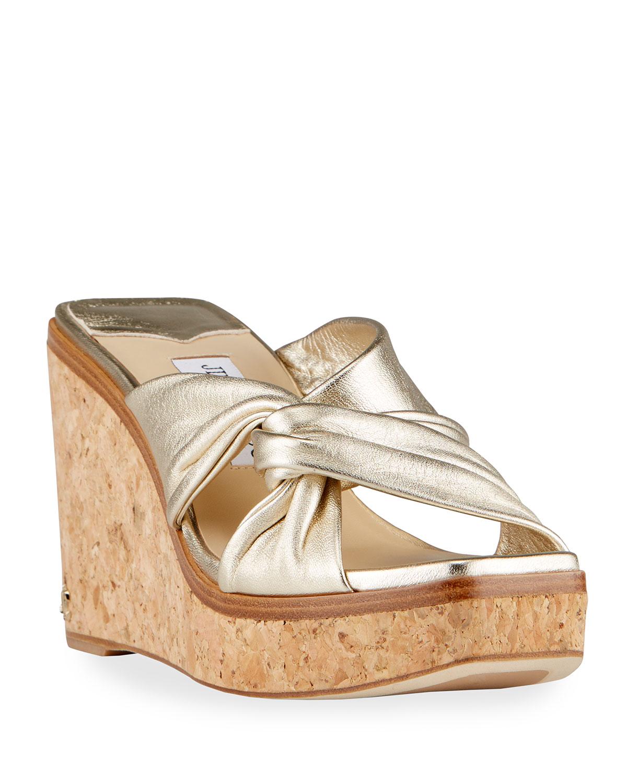 Narisa Metallic Wedge Platform Sandals