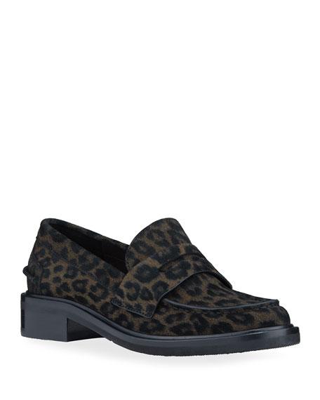 Rag & Bone Slayton Leopard-Print Suede Penny Loafers